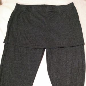 Charcoal grey leggings with attached mini skirt